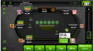 Snapshot de l'appli mobile de Unibet Poker sur un iPhone