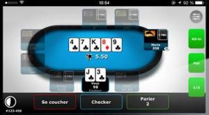 Snapshot d' l'appli PMU Poker sur tablette Samsung Android